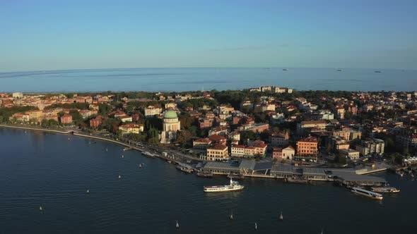 Aerial View of the Lido De Venezia Island in Venice Italy