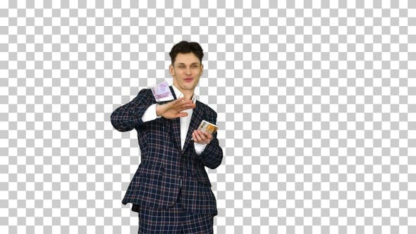 Thumbnail for Man in Formal Suit Throwing Money in The Air, Alpha Channel