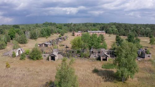 Drone Flight Over Ruins of Farms in Chernobyl Zone