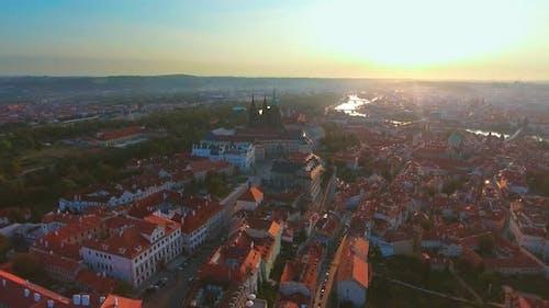 Aerial View of Prague City and Prague Castle and River Vitava