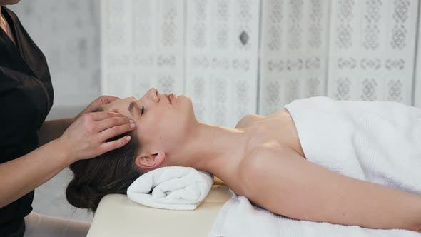 Thumbnail for Relaxing Young Woman Having Massage on the Face in the Massage Salon