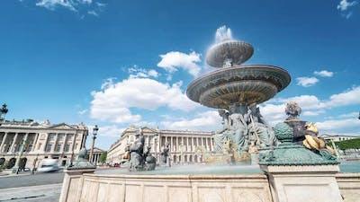 Paris France Timelapse / The Fontaine Des Fleuves on the Place De La Concorde