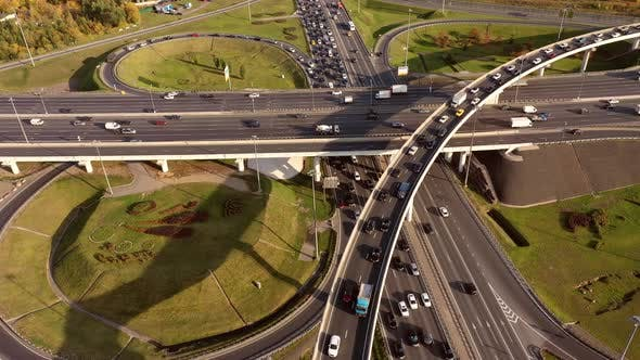 Thumbnail for Aerial View Freeway Intersection Traffic Trails Moscow