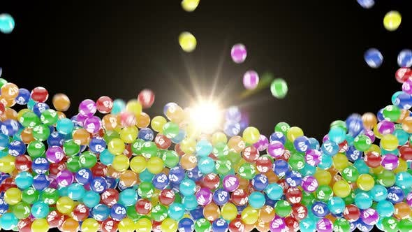 Colorful Microelements Falling Down and Scatter