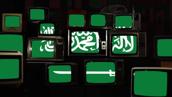 Thumbnail for Flag of Saudi Arabia and Retro TVs.