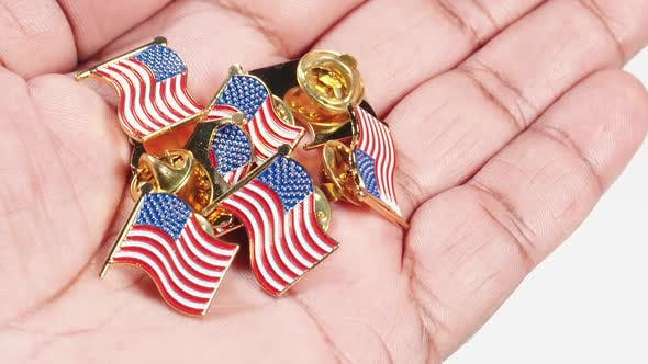 Thumbnail for Macro Hand Palm American Flag Pins
