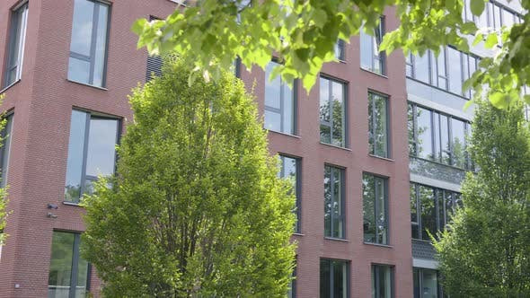 Thumbnail for An Office Building in an Urban Area on a Sunny Day - Trees in the Foreground