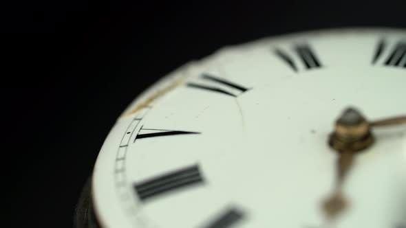 Thumbnail for Antique Clock Rotate Dial Closeup. Black Background. Sound