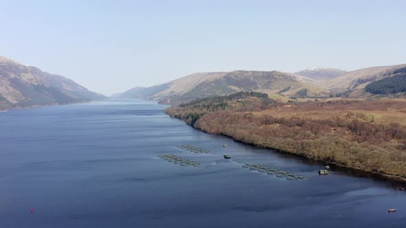Aquaculture Fish Farm in a Loch Surrounded by Beautiful Landscape