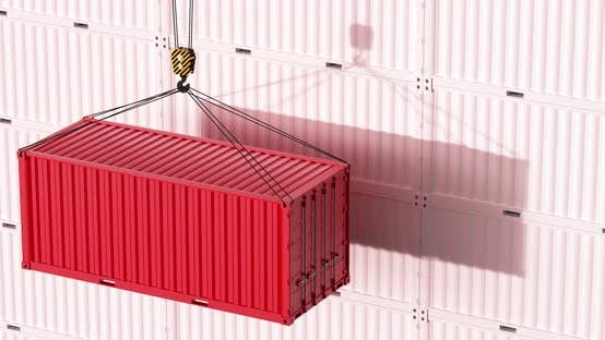 Red container rising with white background.