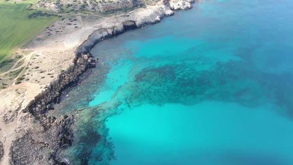 Wide Shot of Turquoise Sea Lagoon on Cyprus Resort