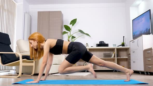 Woman Does Sport at Home