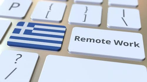 Remote Work Text and Flag of Greece on Computer Keyboard