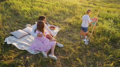 Summer Picnic of Creative Family