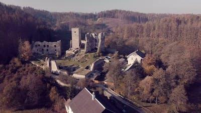 aerial view castle ruins Rokstejn