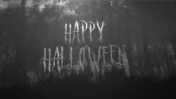 Thumbnail for Animationstext Happy Halloween und mystischen Halloween-Hintergrund mit dunklem Wald und Nebel