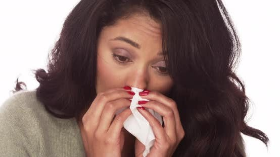 Mexican woman with a cold