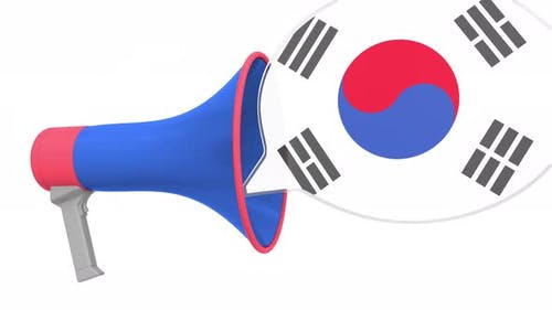 Loudspeaker and Flag of South Korea on the Speech Bubble