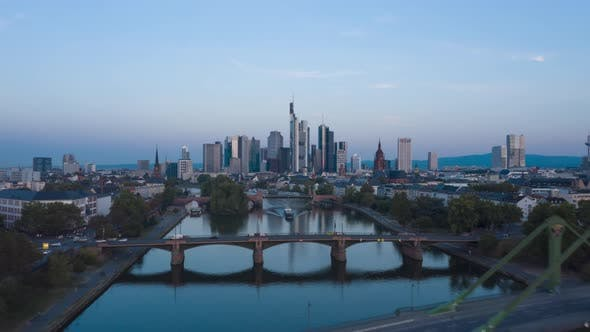 Frankfurt Am Main, Germany Skyline Establisher Hyperlapse Moving Time Lapse Over Main River with