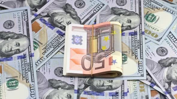 Cover Image for Rotating Hundred Dollar And Euro Banknotes 12