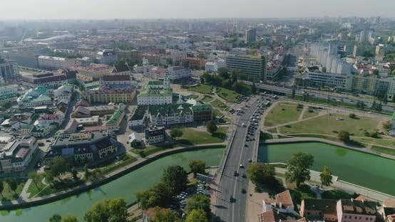 Thumbnail for Nemiga Street in Minsk City Belarus Residential and Business Buildings Roofs, Old Town Panorama