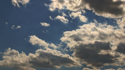 Sunny Day Cumulus Cloud Scape Blue Sky and White Cloud
