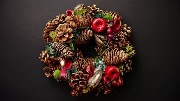 Thumbnail for Christmas Wreath on Black Background