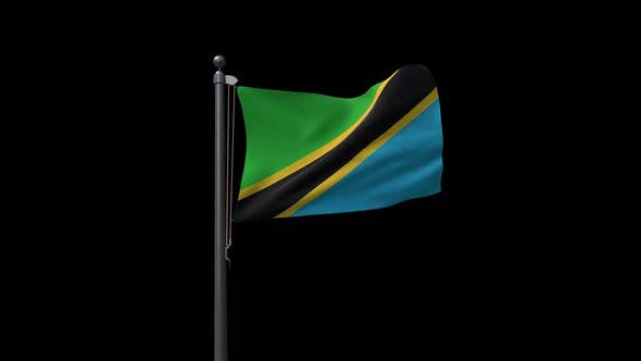 Tanzania Flag On Flagpole With Alpha Channel