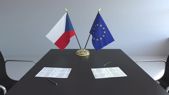 Thumbnail for Flags of the Czech Republic and the EU on the Table