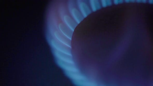 Thumbnail for Close-up of a Fire in a Gas Stoker on a Gas Stove