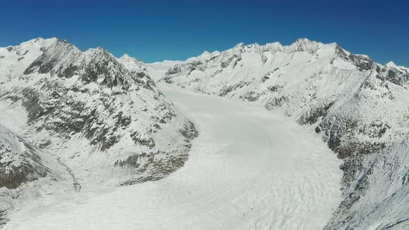 Thumbnail for Aerial View of Aletsch Glacier and Mountains in Switzerland. Swiss Alps.