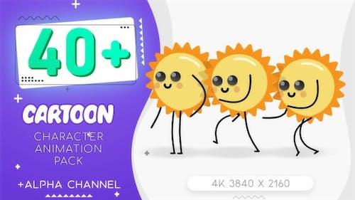 Flat Sun Cartoon Character Kit