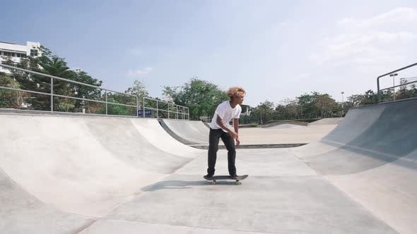 Thumbnail for Skateboarder Riding On Halfpipe Ramp