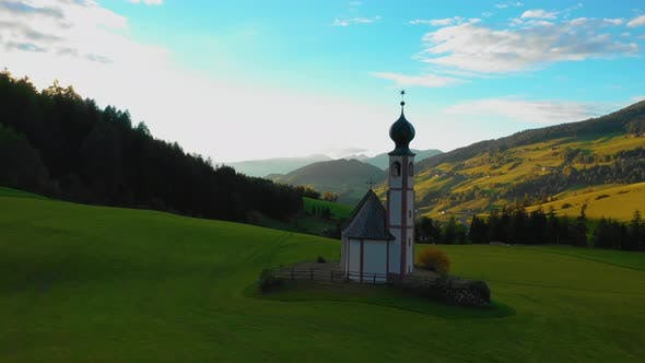 Bird's-eye View of the Church and the Valley Near the Village of Santa Maddalena