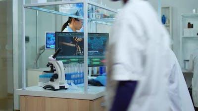 Man Scientist Working at Vaccine Development