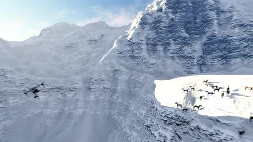 Drone Flying on Snowy Mountain