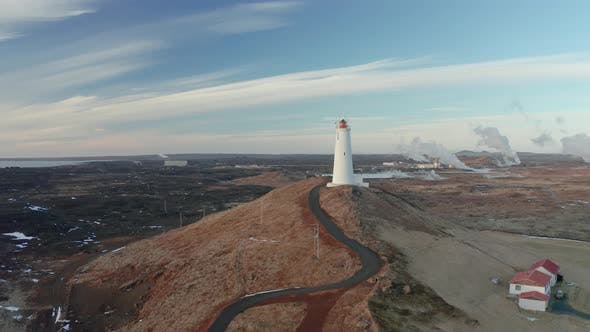 Aerial View of the Lighthouse at Reykjanes Peninsula During Sunset. Iceland in Early Spring