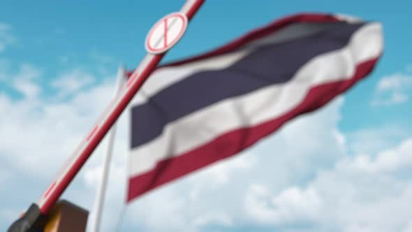 Thumbnail for Closing Boom Barrier with Stop Immigration Sign and Flag of Thailand