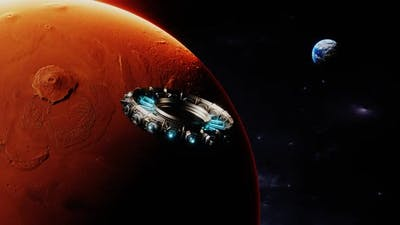 Spaceship Orbiting Mars