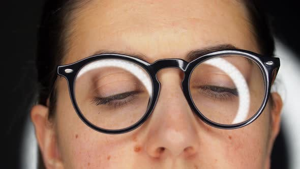 Close Up of Woman's Face or Eyes in Glasses