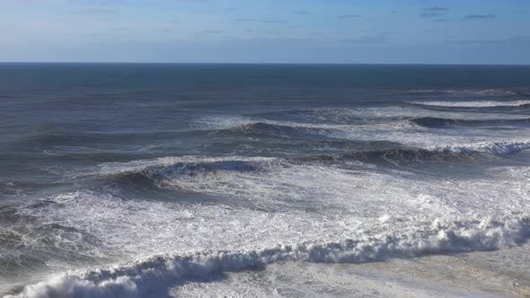 Cover Image for Aerial View on Big Waves of Atlantic Ocean