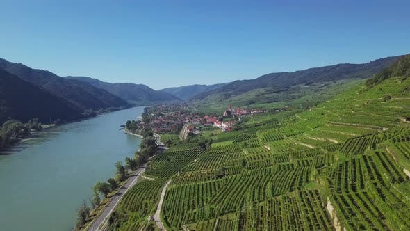 Aerial of Weisenkirchen, Wachau Valley, Austria