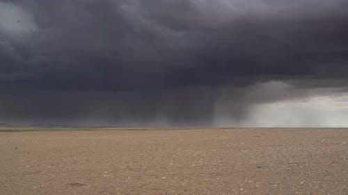 Downburst Rain in Arid Barren Desert