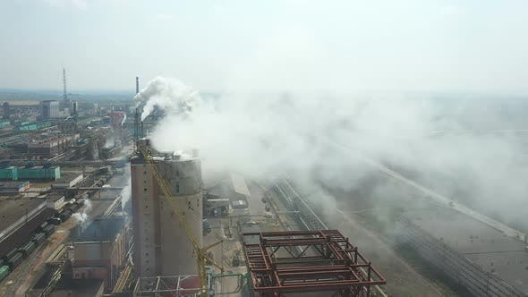 Aerial View, the Territory of the Plant, Smoke Comes Out of the Pipes, Large Pipes of the Plant