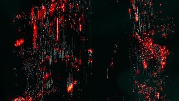 Thumbnail for Pixelated Digital Glitch Art Konzept mit lebendigem orangefarbenem Rauschen