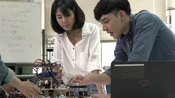Team developing electronic