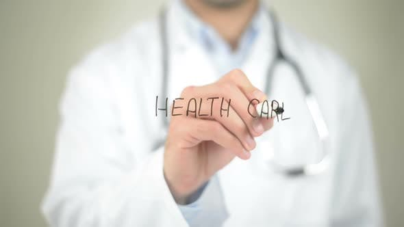 Thumbnail for Health Care, Doctor Writing on Transparent Screen