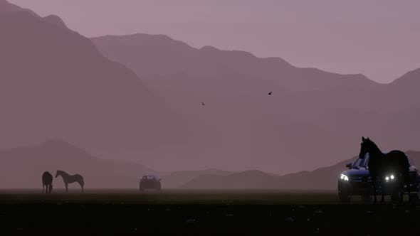 Thumbnail for Horses and Black Luxury Off-Road Vehicle in the Foggy Mountainous Area