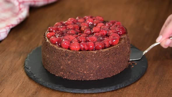 Thumbnail for Delicious Homemade Chocolate Cheesecake with Cherries