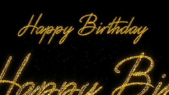 Thumbnail for Happy Birthday - Golden Glitter Text - HD